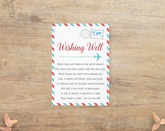 travel wishing well card airline wedding insert money request poem adventure bridal shower airplane theme blue red rt instant download
