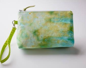 Wristlet, Hand Dyed Purse, Summer Handbag, Makeup Pouch, Essential Oil Pouch
