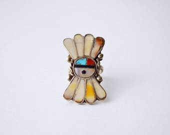 Zuni Inlaid Ring   1940s vintage Native American ring   Sterling Silver Ring   Old pawn ring   Native American Old Dead Pawn jewelry Size 5