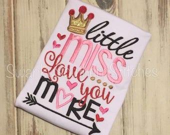 Valentine... Little Miss Love You More Applique Shirt