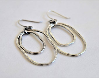 Sterling Silver Metalwork Earrings - Hammered Silver - Dangles -  Gift For Her - Simple