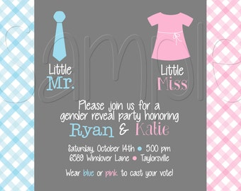 Printable Tie and Dress Gender Reveal Party Invitation