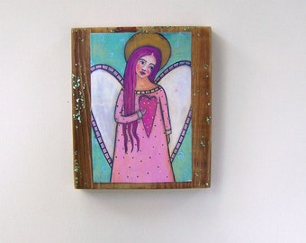 "Folk Art Angel painting Woodblock Encaustic Print 5 1/2"" x 6 1/2"""