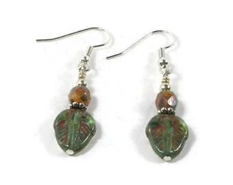 Green and Orange Czech Glass Earrings