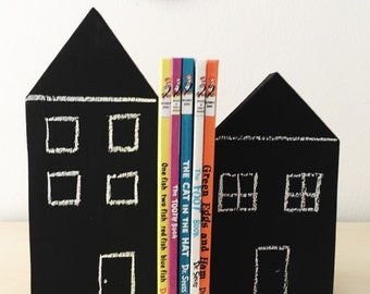 Chalkboard Wooden House Bookends, wooden houses, painted houses, children's bookends, kid's bookends, wood toys, chalkboard decor