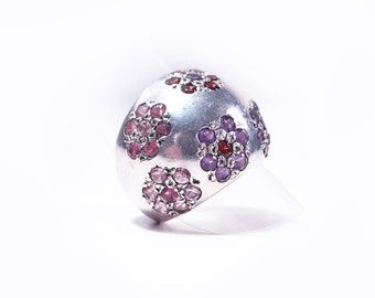 Silver ring and amethyst and Garnet certis