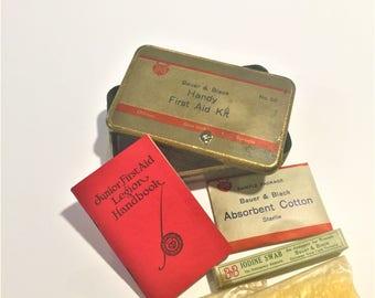 First Aid Kit 1925 Bauer & Black Chicago New York Toronto Jr. Legion Book Dated Iodine Swab Sterlie Cotton Gauze all Unopened Medical Child