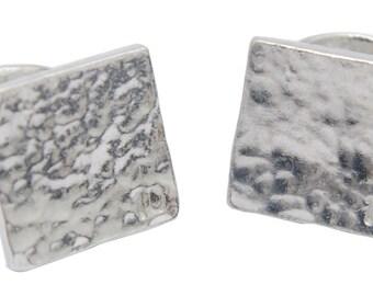 10th Wedding Anniversary Pure Tin Beaten square cufflinks stamped 10 (TG115-10)