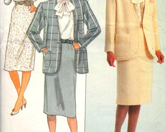 """Butterick 4114, Sz 14-18/Bust 36-40"""".  Ladies Suit pattern: Oversized/Very Loose Fitting Jacket, Loose Fit Pullover Blouse with Bow & Skirt"""