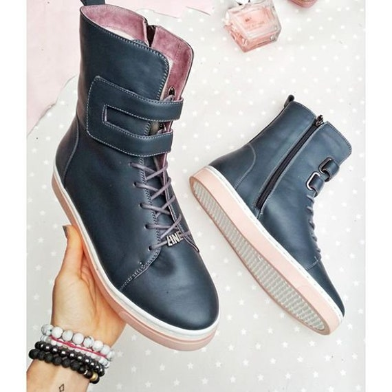 shoes platform shoes Custom style ankle casual shoes Comfy TL0009 boots city modern high Lace women up flat Blue boots leather Urban FPz04Tqw