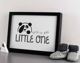 Monochrome Peek-A-Boo Panda Giclée Print