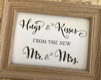 Treats Whimsical Wedding Sign,Hugs and Kisses from the new Mr. & Mrs. Wedding Sign,5x7 Wedding Sign,Printed Wedding Sign