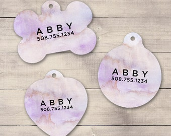 Purple Watercolors Pet ID Tag, Custom Pet Tag, Personalized Dog Tag, Dog ID Tag, Puppy Tag, Dog ID, Pet Tag, Cat Tag (0011)