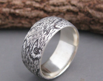 WIDE woodgrain ring BIRDSEYE MAPLE 8mm sterling Made To Order