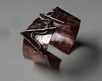 Artisan Copper and Sterling Fold Formed Cuff-Goth,Primative,Rustic