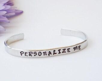 Customized Bracelet Cuff - Personalized Bracelet - Inspirational Bracelet Cuff - Handstamped Cuff - Aluminum Cuff - Adjustable Cuff