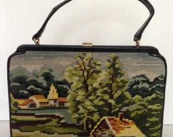 Walborg Village Scene Needlepoint Handbag
