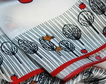 ON SALE 100% satin silk; the Little Red Riding Hood scarf; digitally printed scarves designed and illustrated by mine dogan