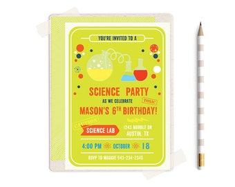 Science Birthday Invitation, Science Birthday Invitations, Science Birthday Party, Science Party, Science Birthday, Science Birthday Theme,