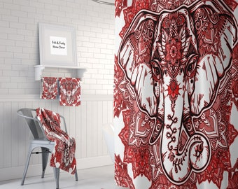 Boho Chic Elephant Shower Curtain , Bath Mat, Bath Towls ,Red  Mandala Bathroom Set
