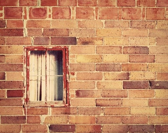Urban Photography Print - Rustic Brown and Burnt Orange Art - Architectural Home Decor Photo - Brick Building Wall Art