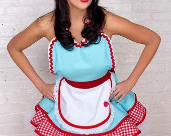 Dots Diner Retro 50s Diner Waitress Apron Aqua and Red