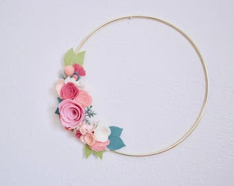 Ready to Ship Spring Floral Gold Hoop Wreath / Felt Flowers / Nursery / Mother's Day Gift / Home Decor / Macrame / Baby Shower / Photo Prop