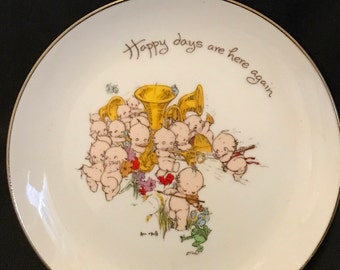 "Vintage Kewpie Plate Collectable Plate ""Happy Days are Here Again"""