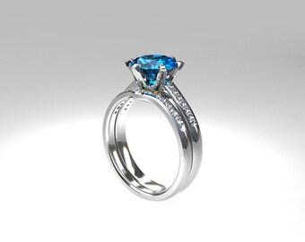 Swiss Blue Topaz Engagement Ring Set, Diamond Wedding Ring, Blue Topaz Ring,  Curved Wedding Ring, Topaz Engagement, White Gold, Matching
