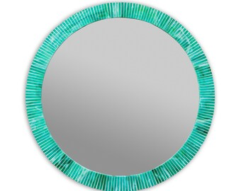 Deep Turquoise/Aqua Large Round Wall Mirror in Stained Glass Tiles