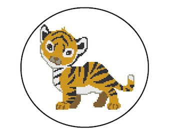 Counted Cross Stitch Pattern, Baby Tiger Cross-Stitch Pattern PDF, Jungle Animals