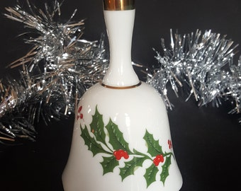 Ceramic Holly Bell With Berries, Vintage Christmas Gift!