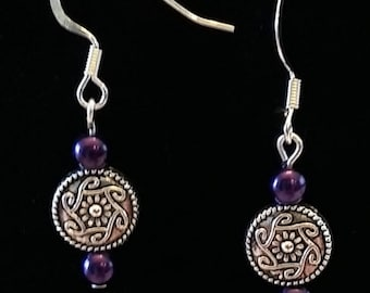 Purple and Silver medallion earrings