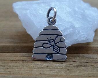 Bee Charm, Sterling Silver BeeHive Charm, Diy Bee Necklace, Bee Charm,Bee Hive Charm, Bee Jewelry, BeeHive Neckace, BeeHive
