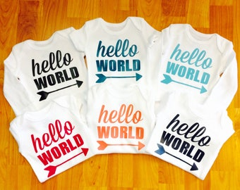 Baby Bodysuits - Coming Home - Hello World - First Photos - Baby Gift - Gender Neutral