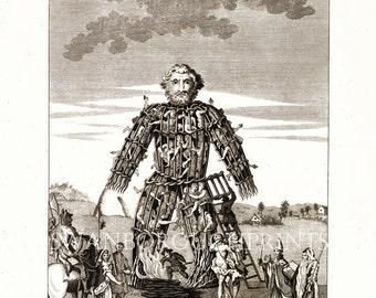 Celtic Druid Print. The Wicker Man. Druid Illustration. Midsummer Solstice Stonehenge. Magic Rituals. Ancient History Nature Worship