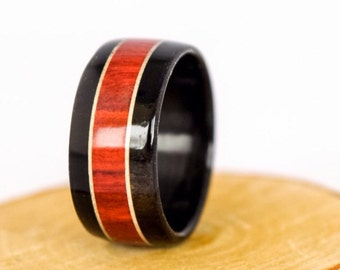 Wood Ring Hybrid Ebony Ring Red Inlay Red Lining Durable