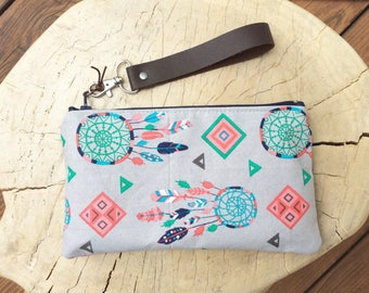 Fabric Zipper Clutch - Dreamcatcher Wristlet - Modern Zipper Clutch - Clutch Purse - Boho Clutch - Fabric Makeup Tote