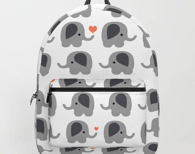 Elephant Backpack with Orange Hearts - Book Bag - School Book Bag - Student Bag - Made to Order
