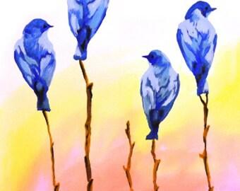 Blue Bird Art Print, Watercolor 8x10