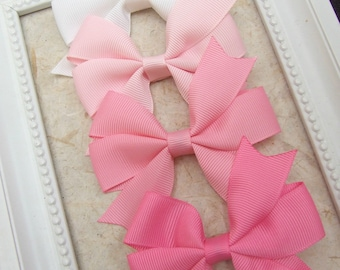 Classic Pinwheel Hair Bows, Hair Clips For Baby, BEST SELLER, Pink , White, Hair Bow Clips, Toddler Girl, Girl Hair Clips, Teen Hair Clips