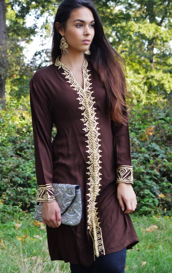 Brown Tunic Dress with Gold Embroidery-Samia- perfect for birthday gifts,resort wear, autumn wear, winter wear, boho dresses