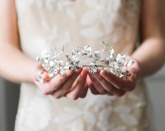 Myrtle Tiara, antique German tiara replica, vintage style tiara, leaf tiara, myrtle crown, leaf crown, Silver tiara, flower crown, boho #113