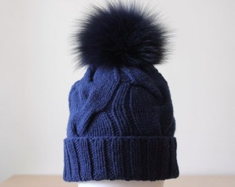 Fur pom pom knit hat, Blue Navy chunky knit wool cashmere pom pom beanie, Cable knit hat, Wool hat for women, Wife christmas gift