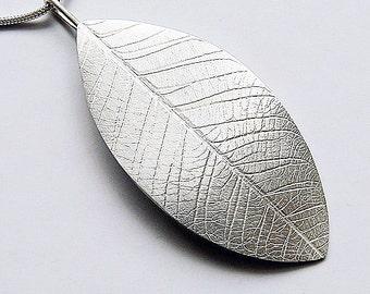 Sterling silver leaf  necklace. Silver leaf pendant.  Silver necklace. Silver jewellery. Handmade.