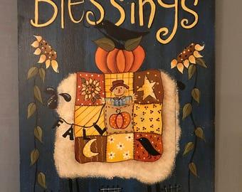 Blessings, sheep, pumpkin, sunflower, quilt, fall sign, fall decor, Deb Antonick,