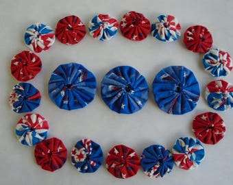 Fabric Yo Yo 20 pc. Red White Blue 4th of July America USA Embellishment Accessory