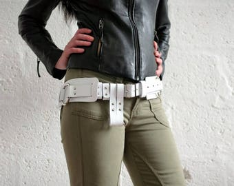 Unisex Leather Belt - White - steampunk - burning man - festivals - bushcraft - apocalypse, Please read Description for size