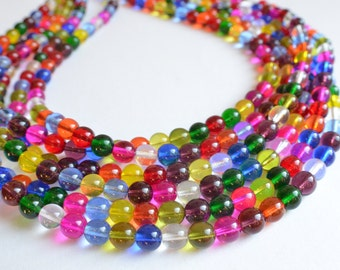 Michelle - Multi Color Glass Bridesmaid Multi Strand Statement Necklace
