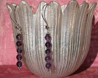Amethyst and Sterling Silver Bali dangle earrings